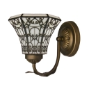 Black and White Beautiful Pattern Wrought Iron Wall Sconce in Tiffany Style