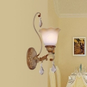 Splendid Single Light Wall Sconce with Vibrant Tree Branch Like Support and Crystal Droplets