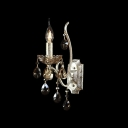 Fabulous Crystal Droplets and Graceful Curving Scrolling Arms Accented Sophisticated Single Light European Style Wall Sconce
