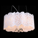 Modern Crystal Accent Gleaming Style Five-light Large Pendant with Graceful White Leaves Shade