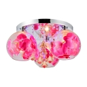 Stunning Three Light Flush Mount Ceiling Light with Clear Glass Shades and Beautiful Crystal Drops