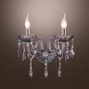 Sparkling Wall Sconce Features Magnificent Design with Candle-style Lights and Clear Crystal