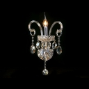 Dramatic Unique Design Offers Glamourour Embelishment to Delightful Single Light Crystal Wall Sconce