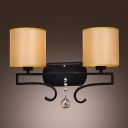 Two Orange Fabric Drum Shade Add Charm to Stunning Wall Sconce with Wrought Iron Frame