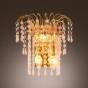 Gold Finsh Crystal Wall Sconce Offers Dramatic Addition to Your Decor