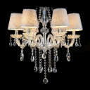 Stunning Faceted Clear Crystal Droplets Sleek and Classic 6-Light Chandelier
