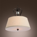 Wrought Iron Linen Drum Shade Beautiful Crystal Sphere Accented Large Pendnat Light