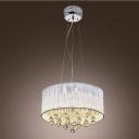 Fantastic Ceiling Light with White Translucent, Drum Shade Supports Waterfall of Sparkling Crystal Teardrops