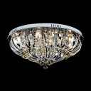 Finely Hand Cut Crystals and Round Chrome Finished Modern Flush Mount Lights
