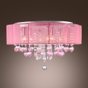 Beautiful and Romantic Pink Colored Flush Mount Lights Shine with Bright Crystals
