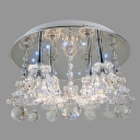 "Clear Crystal Flower and Balls 15.7""Wide Sparkling Crystal Flush Mount Lighting"