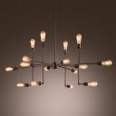 Sputnik 16 Light Chandelier in Bronze Finish Restaurant Industrial Style Multi Light Pendant in Wrought Iron