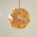Globe Wood Sliced Shaded Pendant by Designer Lighting
