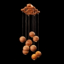 "15.3""Wide 10-Light Designer Pendant Light Hanging Wooden Balls"