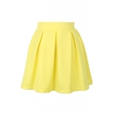 Candy Color High Waist Pleated Mini Skirt
