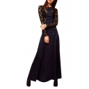 Black Lace Blue Satin Panel Style Longline Dress