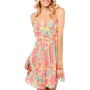 Colorful Floral Print V-Neck Slip A-line Dress