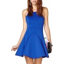 Royal Blue Sleeveless Back Black Cross Spaghetti Seam Detail A-line Dress