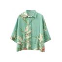Light Green Background Beige Flower Print 3/4 Sleeve Shirt