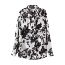 Black Ink Color Flower Print Chinese Painting Style Mid Shirt