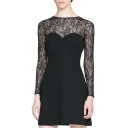 Back Cutout Lace Panel Style Sweetheart Neck Black A-line Dress