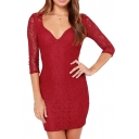 Curve V-Neck Plain Crochet Lace 3/4 Sleeve Dress