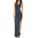 High Split Side Asymmetric Neck Ruched Dark Blue Maxi Dress