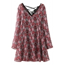 V-Back String UP Two Piece Style Red Floral Print Dress
