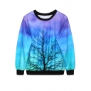 Leafless Tree Print Ombre Blue Sweatshirt