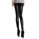 Black Plain Mid Rise Elastic Waist Pencil Leggings