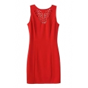 Plain Round Neck Sleeveless Chest Laser Cutwork Slim Dress