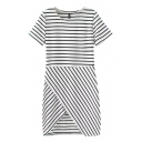 Stripe Print Round Neck Short Sleeve Asymmetric Hem Dress