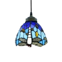 "6"" Width Tiffany Style Mini Pendant Light Spotlighted with Vivid Dragonfly"