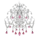 Beautiful Mini Pendant Light Chandelier Hanging Sparkling Clear Crystal Strands and Pink Drops