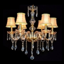 Romantic and Warm Six Lights Check Pattern Fabric Shade Crystal Traditional Candelabra Chandelier