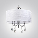 Sof and Chic White String Shade and Chrome Finished Frame Hanging Stunning Crystals Chandelier for Living Room