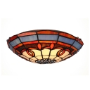 Assorted Color Symmetrical Pattern Accented Flush Mount Ceiling Light in Tiffany Style