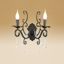 Vintage Black Base Two-light Wall Sconce Features Beautiful Crystal Accent and Graceful Scrolling Arms