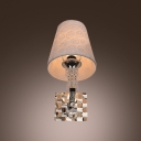Graceful Single-light Flower-patterned Stunning Wall Sconce with Pure White Fabric Shade
