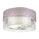 Romantic Pink Fabric Outer Shade Add Charm to Contemporary Four Lights Flush Mount Ceiling Light