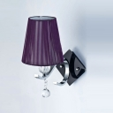 Elegant Purple Empire Shade Add Charm to Delightful Single Light Crystal Accented Modern Wall Sconce