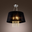 Outstanding Large Pendant Light Adorned with Beautiful Strands of  Crystal Beads and Elegant Black Fabric Shade