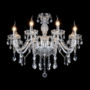 Glamorous Chandelier Provides Glitter and Glamour with  Sparkling Crystal Complemented by Silver Finish Accents