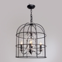 Rustic Iron Black Large Cage Pendant Lighting Hanging Clear Crystal Beaded Strands