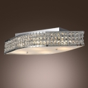 Geometrical Shaped Clear Crystal Beads Embedded Whimsical Style Flush Mount Lighting