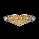 Luxurious and Grand Golden Frame Hanging Clear Crystal Balls Flush Mount Lighting