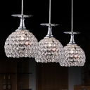 Round Canopy Modern Bowl Design Stunning Crystal Multi-Light Pendant Add Elegant and Graceful