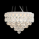 Hand Cut Crystal Droplets Waterfall and White Soft Metal Shade Large Pendant Light  for Living Room