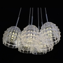 Graceful Curving Glass Shades Adorned Stunning Multi Light Pendan Creating Welcomed Addition to Any Room