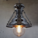 Industrial 1 Light Mini Pendant in Satin Nickel